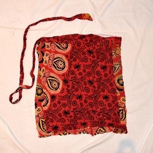 Red Patterned Wrap Skirt